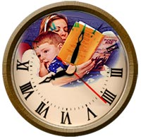 image of mother reading to child superimposed on a clock