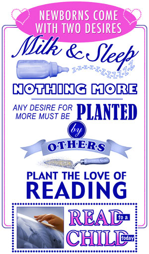 Poster  for reading to infants to plant reading desire