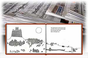 newspapers with pages from book Six Men