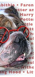 part of image of bulldog with glasses